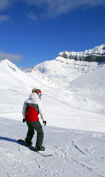 Góry snowboardzie dziewczyna tle sceniczny widoku Zdjęcia stock © elenaphoto