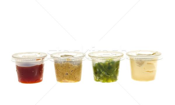 Fűszer mustár ketchup majonéz fűszerek háttér Stock fotó © elenaphoto