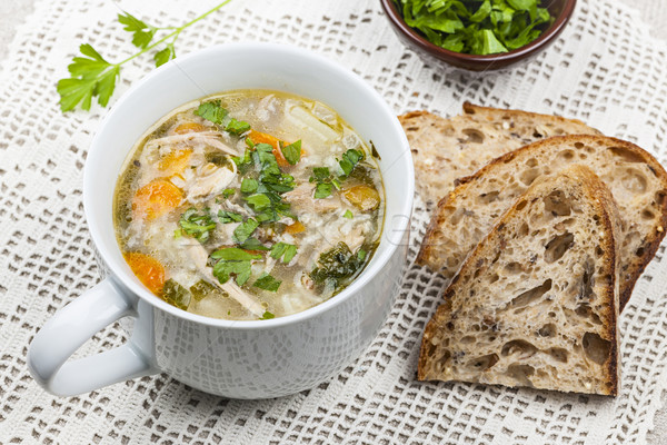 Stok fotoğraf: Fincan · tavuk · pirinç · çorba · sıcak · hizmet