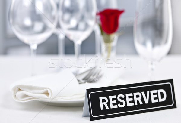 Reserved table at romantic restaurant Stock photo © elenaphoto