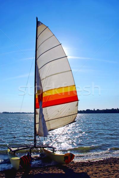Velero catamarán playa cielo mar barco Foto stock © elenaphoto