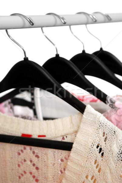 одежды одежду стойку черный женщину женщины Сток-фото © elenaphoto