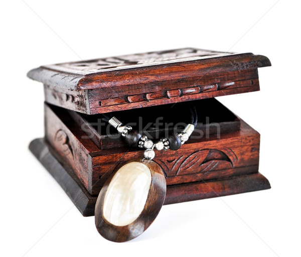 Wooden jewelry box Stock photo © elenaphoto
