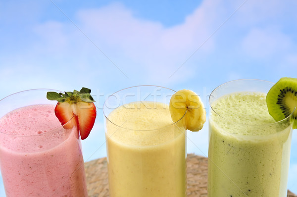 Assorted fruit smoothies Stock photo © elenaphoto