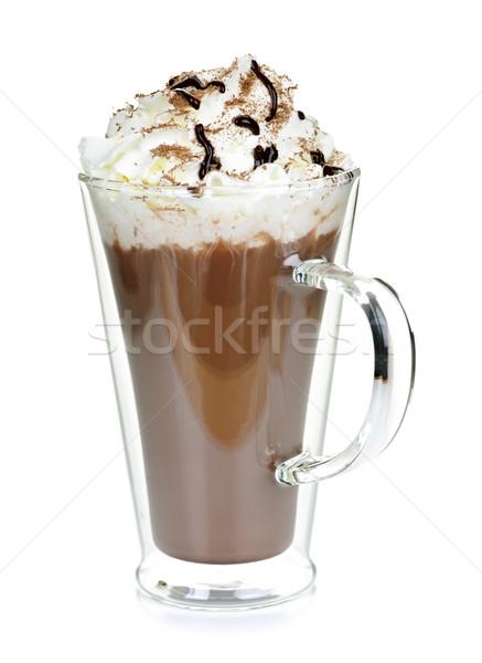 Copo chocolate quente chantilly caneca isolado branco Foto stock © elenaphoto