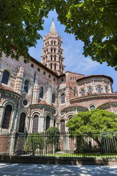 Basiliek mijlpaal kerk baksteen architectuur Stockfoto © elenaphoto