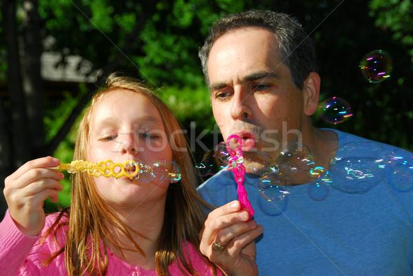 Family summer bubbles Stock photo © elenaphoto