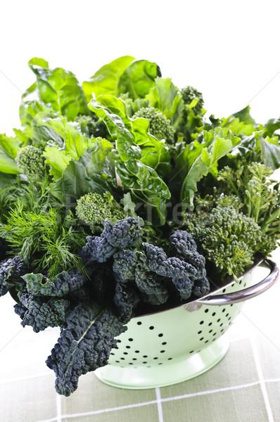Dark green leafy vegetables in colander Stock photo © elenaphoto