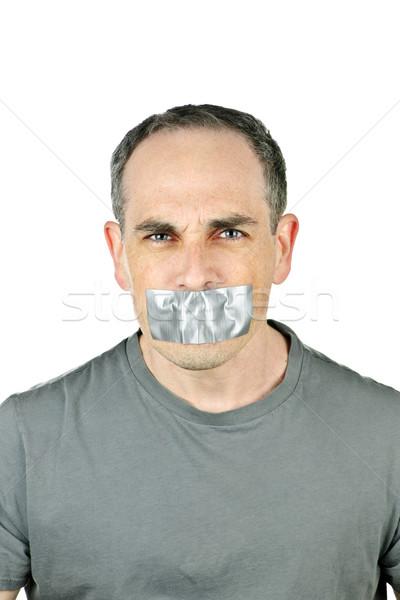 Uomo bocca ritratto arrabbiato faccia Foto d'archivio © elenaphoto