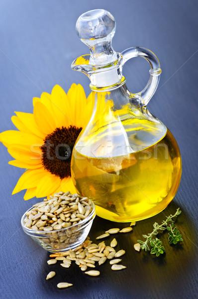 óleo de girassol garrafa sementes flor luz Foto stock © elenaphoto