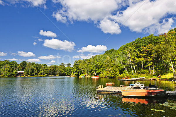 Stock photo: Cottages on lake with docks