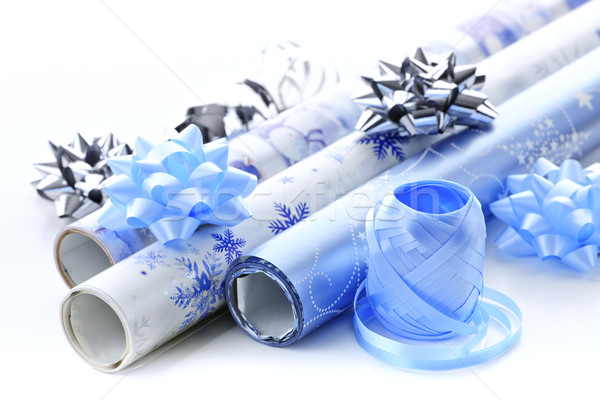 Christmas wrapping paper rolls Stock photo © elenaphoto