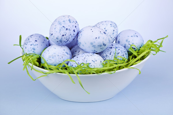 Blue Easter eggs in bowl Stock photo © elenaphoto