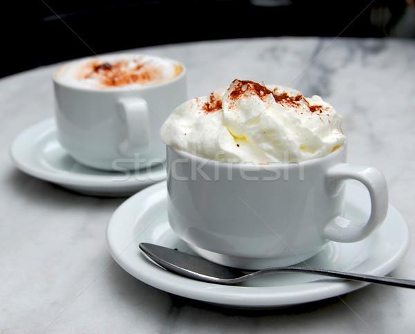 Stock fotó: Kávéscsésze · kettő · csészék · specialitás · dohányzóasztal · kávé