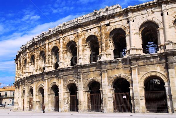 Római aréna Franciaország város déli épület Stock fotó © elenaphoto