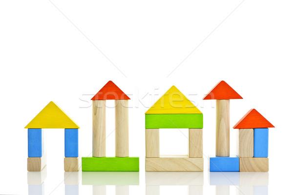 Foto stock: Edifícios · fora · brinquedo · blocos · de · construção
