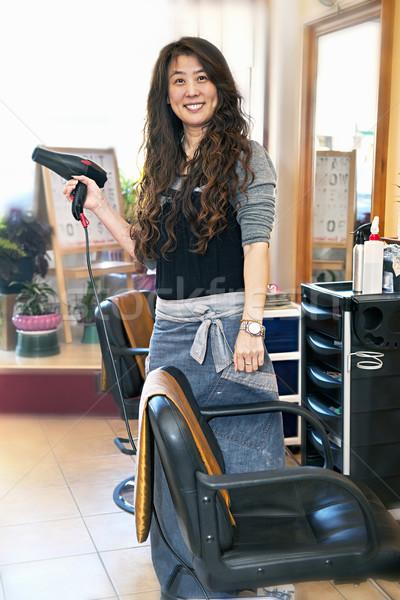 Kuaför mutlu kuaför saç kurutma makinesi iş Stok fotoğraf © elenaphoto