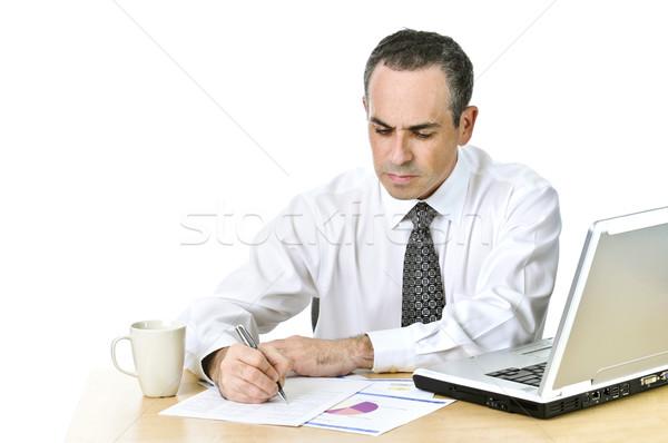 Stockfoto: Kantoormedewerker · studeren · rapporten · ernstig · algemeen · bureau