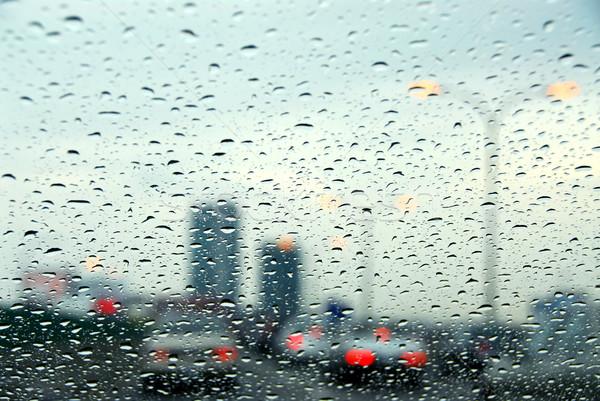 トラフィック 雨の 日 市 光 車 ストックフォト © elenaphoto