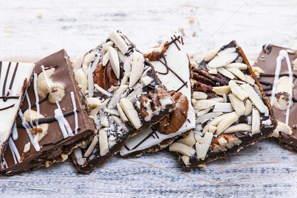 Czekolady karmel kory sztuk słodkie deser Zdjęcia stock © elenaphoto