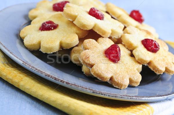 クッキー 新鮮な 務め プレート 食品 青 ストックフォト © elenaphoto