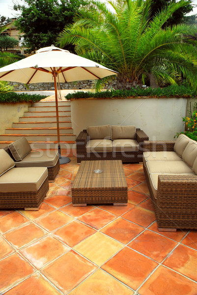 Patio of a villa Stock photo © elenaphoto