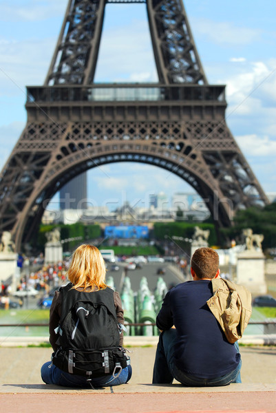 Tourists at Eiffel tower Stock photo © elenaphoto