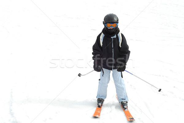 Lány síel fiatal lány gyerekek gyerekek sport Stock fotó © elenaphoto
