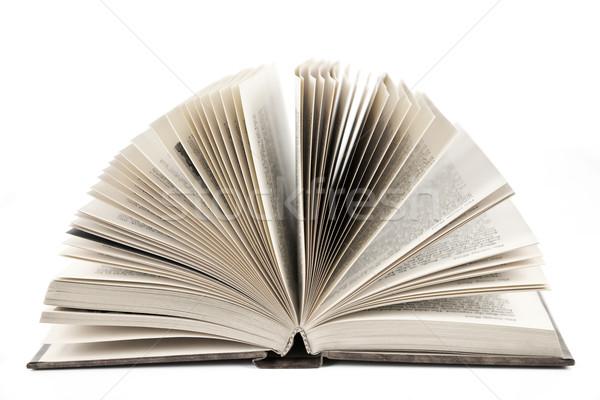 Open boek Open oude hardcover leder boek Stockfoto © elenaphoto