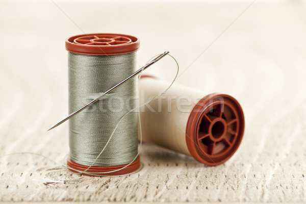 Hilo aguja dos coser cadena detalle Foto stock © elenaphoto