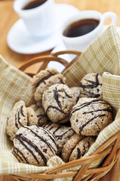 Cookies frescos sándwich cesta café expreso café Foto stock © elenaphoto