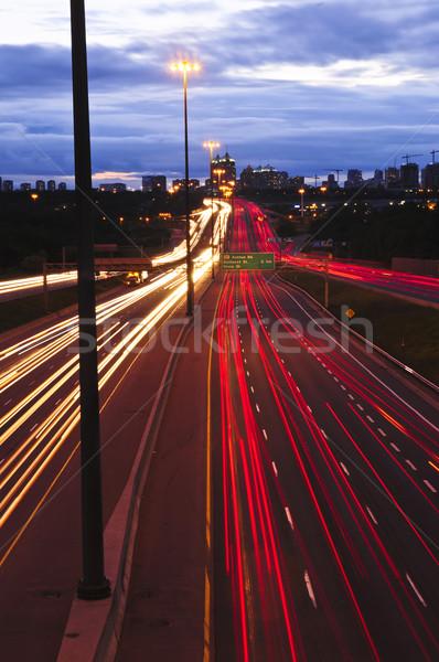 Noche tráfico ocupado ciudad carretera Toronto Foto stock © elenaphoto