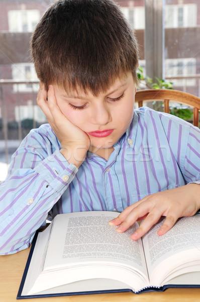 ストックフォト: 男子生徒 · 勉強 · 深刻 · 図書 · 子供 · 学生
