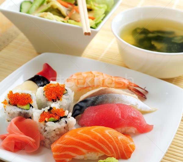 Stok fotoğraf: Sushi · öğle · yemeği · çorba · yeşil · salata · gıda