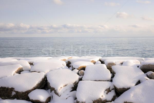 Tél part tó Ontario kövek hó Stock fotó © elenaphoto