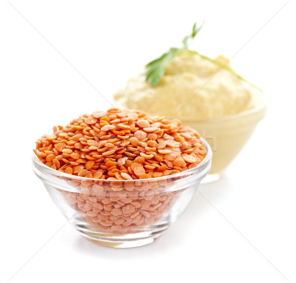 Red lentils and lentil hummus Stock photo © elenaphoto