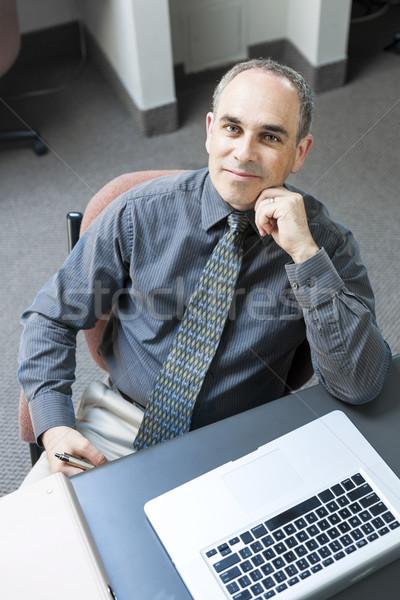 человека сидят бизнесмен портативного компьютера служба Сток-фото © elenaphoto