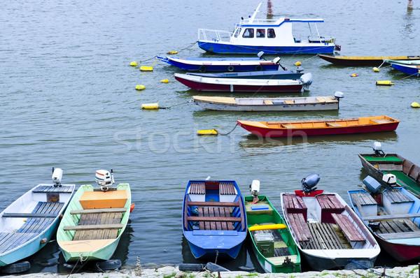 Rivière bateaux danube beaucoup faible pêche Photo stock © elenaphoto