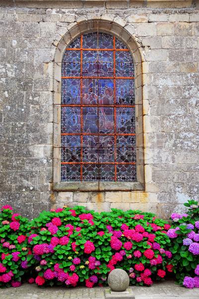 Church window in Brittany Stock photo © elenaphoto