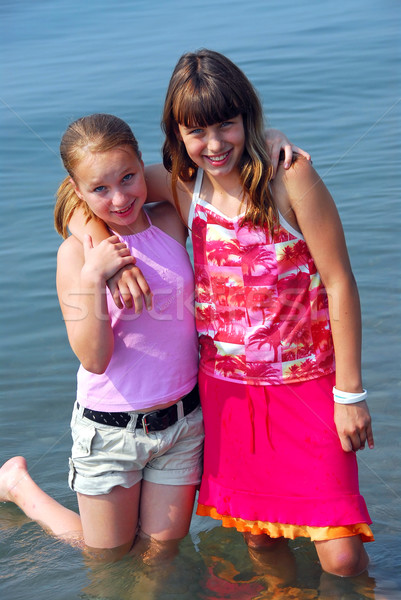 Two preteen girls Stock photo © elenaphoto