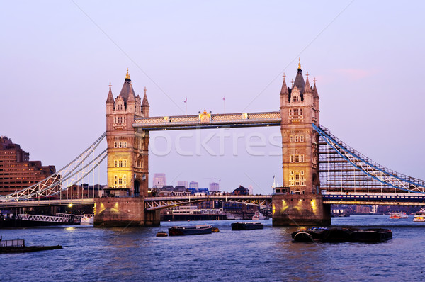 Tower Bridge Londres crepúsculo inglaterra pôr do sol Foto stock © elenaphoto