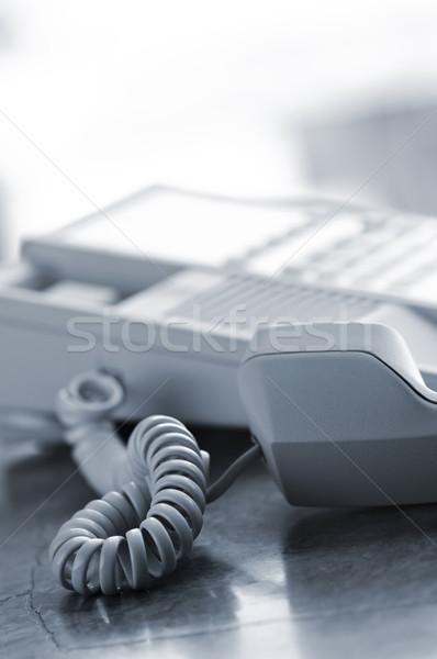 Stockfoto: Bureau · telefoon · af · haak · communicatie