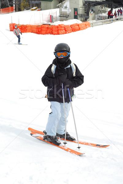 Child downhill ski Stock photo © elenaphoto