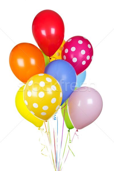 Coloré ballons blanche hélium isolé fond Photo stock © elenaphoto