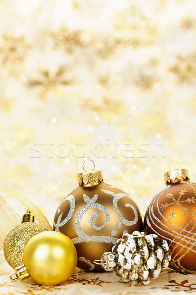 Stok fotoğraf: Altın · Noel · süsler · altın · kış