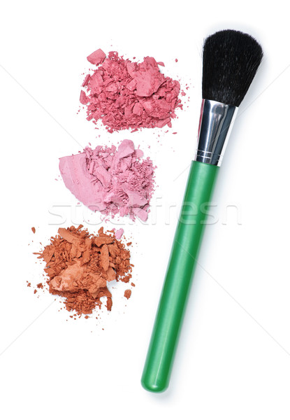 Kozmetika sminkecset bőrpír por fehér zöld Stock fotó © elenaphoto