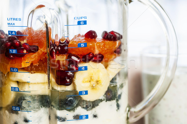 Blender with fruit and yogurt for smoothies Stock photo © elenaphoto