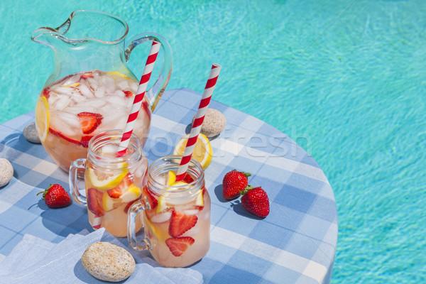Aardbei limonade zwembad kant ijs koud Stockfoto © elenaphoto