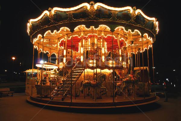 Carrousel verlicht traditioneel Parijs Frankrijk nacht Stockfoto © elenaphoto