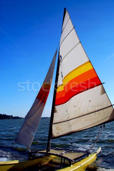 Velero vela catamarán playa cielo mar Foto stock © elenaphoto